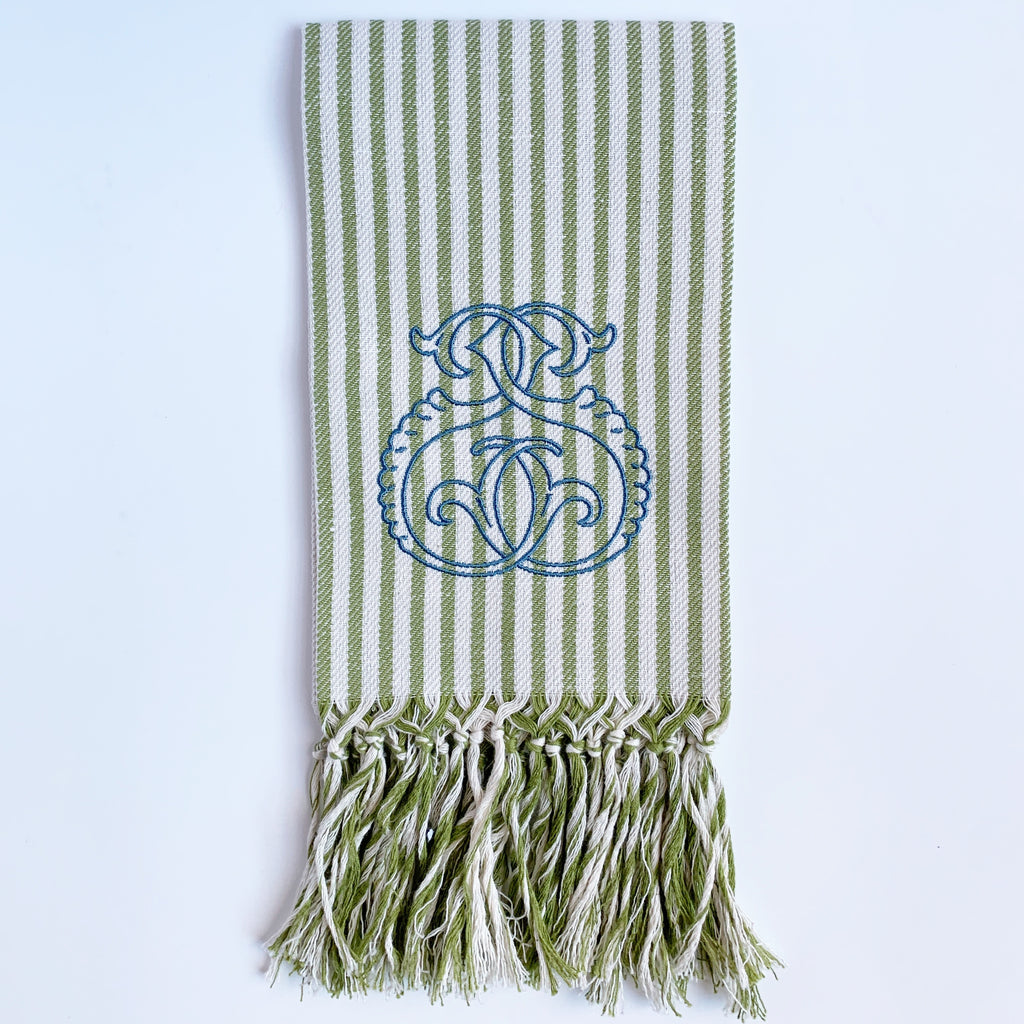 Melograno Striped Long Fringe Guest Towel.  Olive