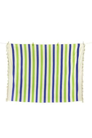 Color Block Striped Throw - Ocean Lime
