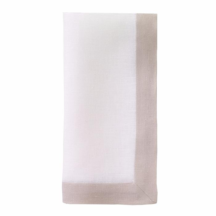 Contrast Band Linen Dinner Napkins, Set of four.