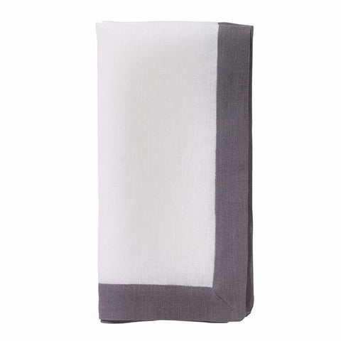 Contrast Band Linen Dinner Napkins, Set of Six.