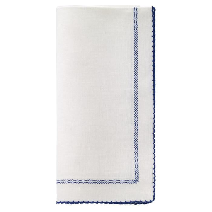 Linen Dinner Napkins with Picot Edge, Set of Four.