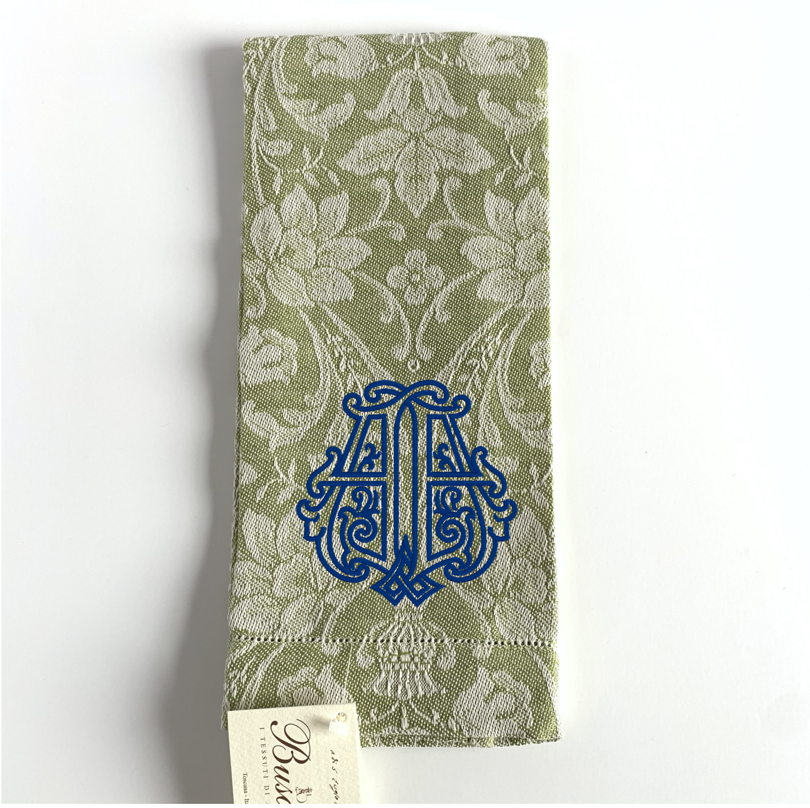 Donna di Coppe Hemstitched Guest Towel, Olive