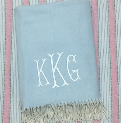 Baby Blue Herringbone Throw