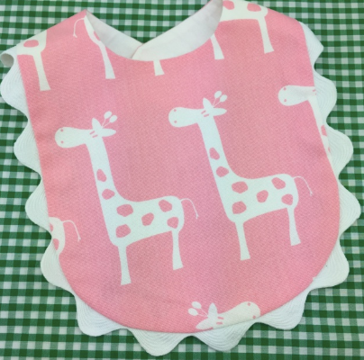 Giraffe Bib with Ric Rac Trim.  2 Colors.