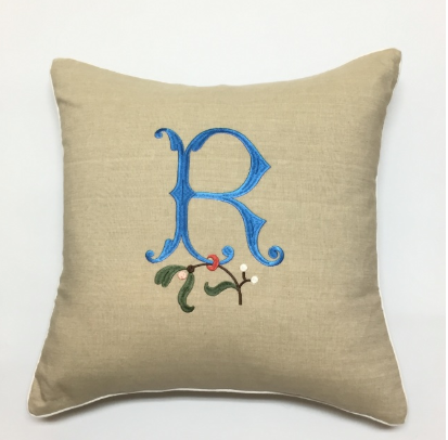 Monogram Cotton Pillow with White Piping