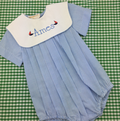 Rosalina Blue Gingham Collared Bubble with Short Sleeves.