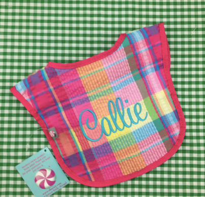 Popsicle Plaid Seersucker Bib.