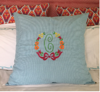 "Seersucker Euro Shams. Includes 9"" monogram."