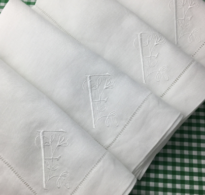 White Linen Hemstitch Dinner Napkins.  Set of Four.