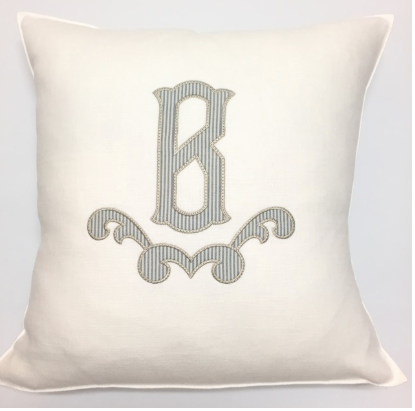 Optic White Linen Pillow Cover, by Libeco Linen