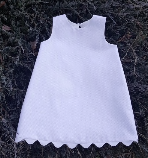 White Piqué A-line Dress with Ric Rac Trim, Size 2T