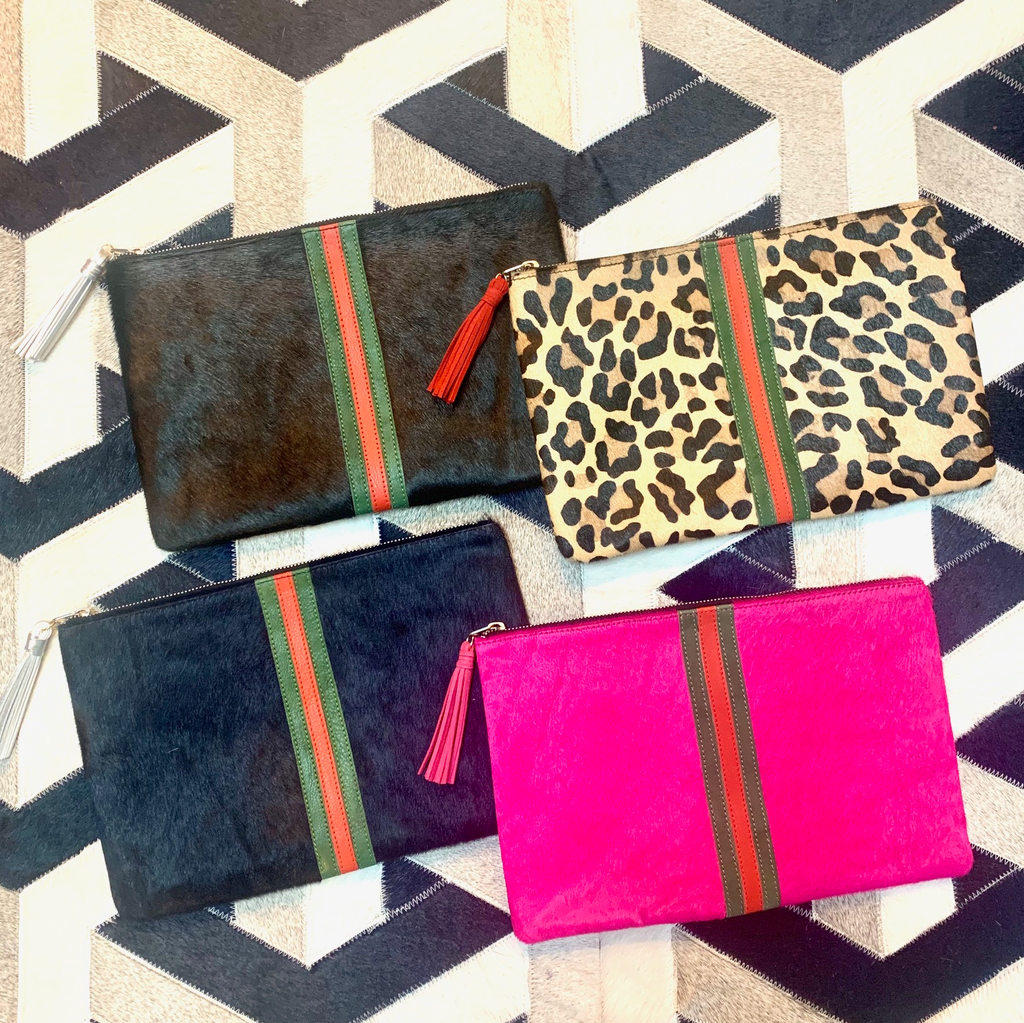 Striped Cowhide Clutch