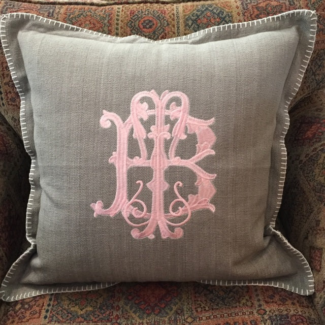 "Blanket Stitch Monogram Pillow. Includes 9"" monogram."