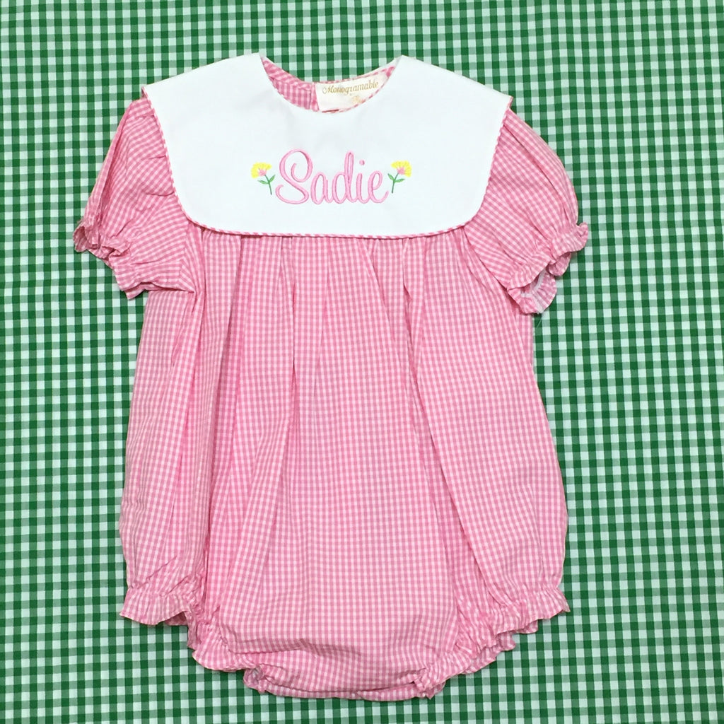 Rosalina Pink Gingham Collared Bubble with short sleeves.