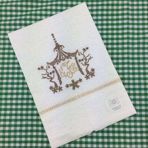 Hibiscus Linens Guest Towel with Hand Crocheted Detail
