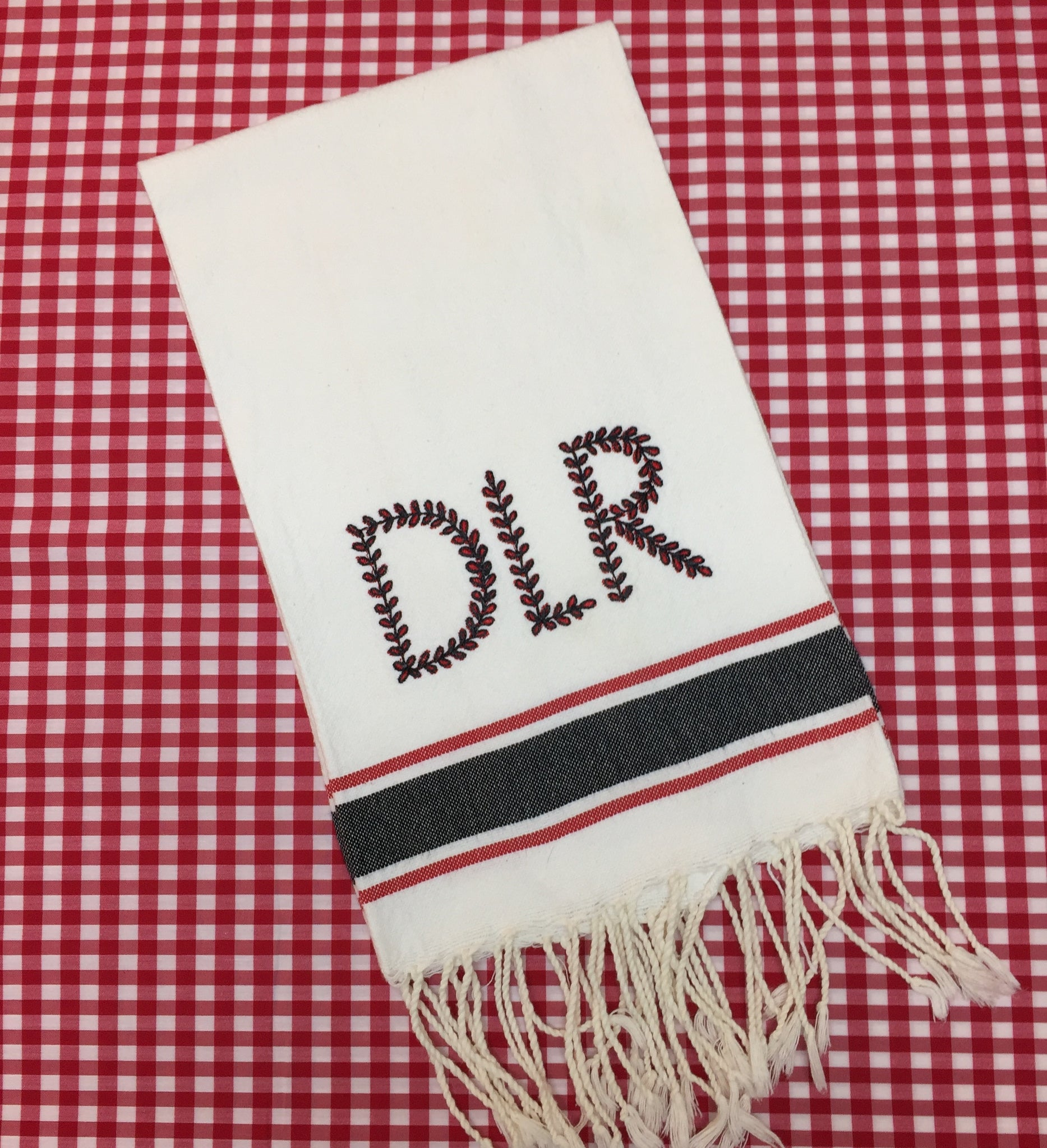 Turkish Guest Towel with Black and Red Stripes