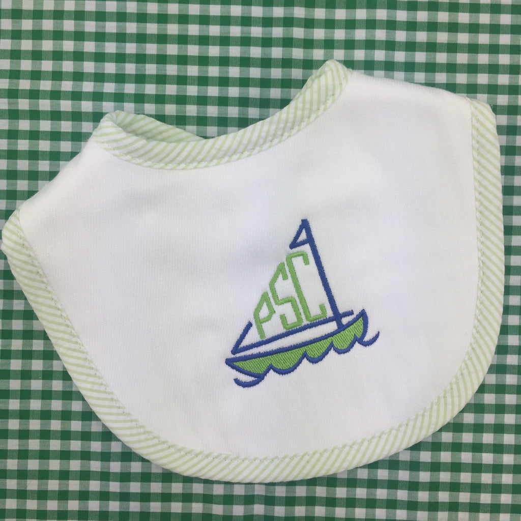 Seersucker Stripe Burp Cloth Bib, by 3Marthas (Various colors)