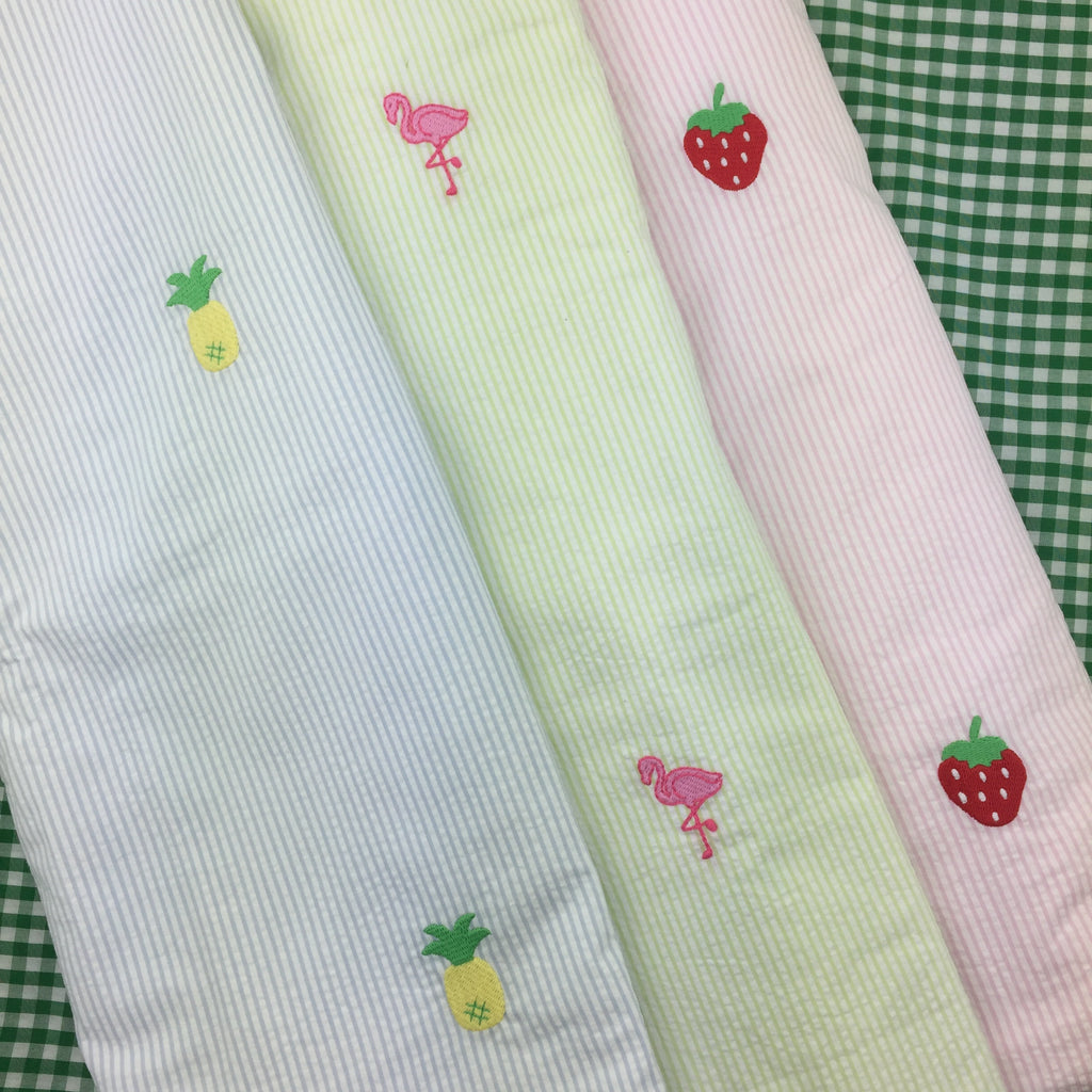 Little English Seersucker Embroidered Beach Towel (Various colors)