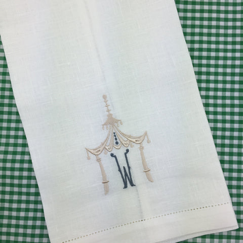 Off White, Irish Linen Hemstitched Bar or Guest Towel