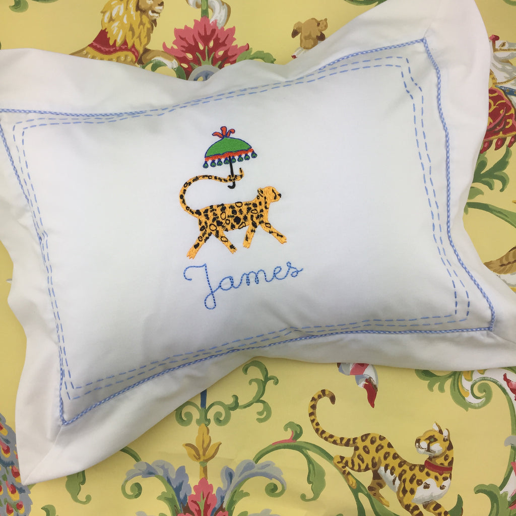 Flanged Boudoir Pillow, with gingham piping (Two colors)