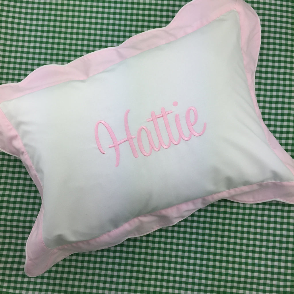 Boudoir Pillow, with pink or blue scalloped flange