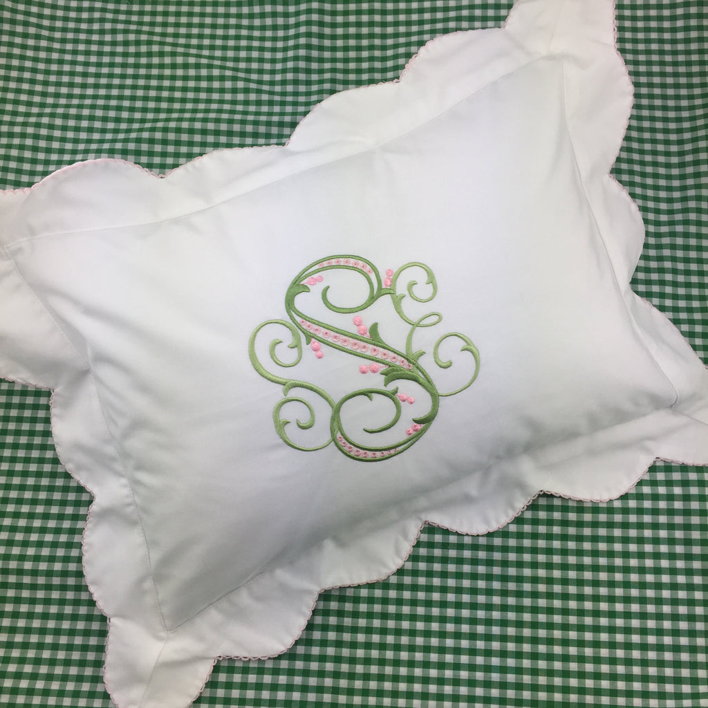 Flanged Boudoir Pillow, with picot edge.  (Three colors)