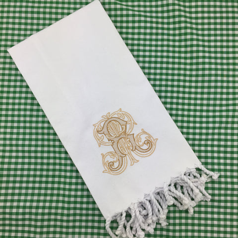 White Turkish Canvas Guest Towel