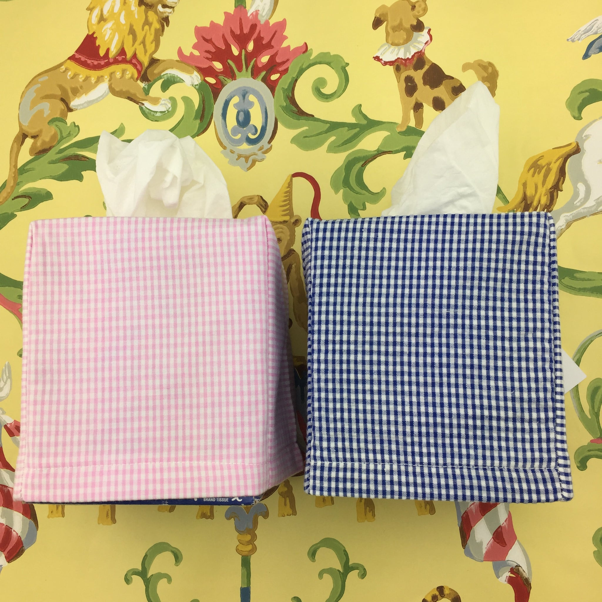 Gingham Seersucker Tissue Box Cover (Two colors)