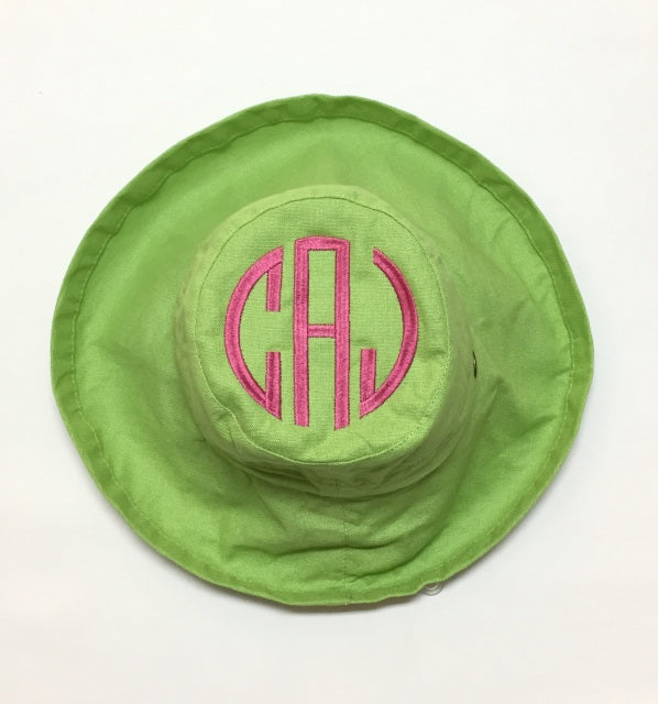 Lime Cotton Sun Hat with UPF 50 sunscreen protection built in.
