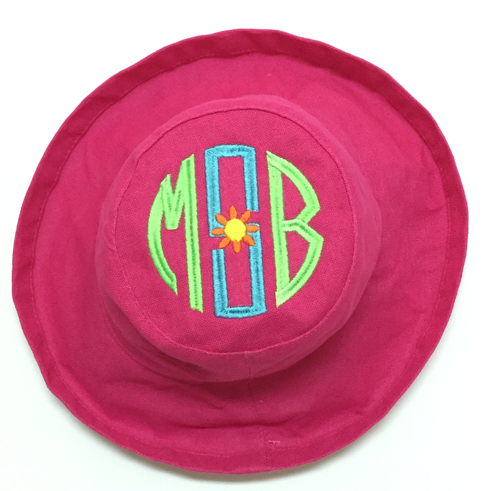 Hot Pink Cotton Sun Hat with UPF 50 sunscreen protection built in.