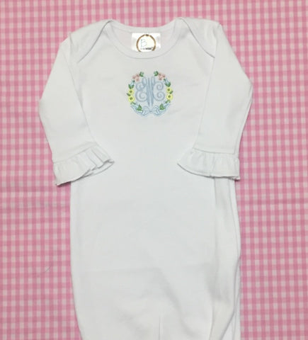 Cotton gown with ruffled sleeve.  Size 0-6 months