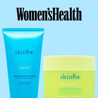 Women's Health Skinfix Foaming Clay Cleanser and AHA Renewing Cream Press Feature
