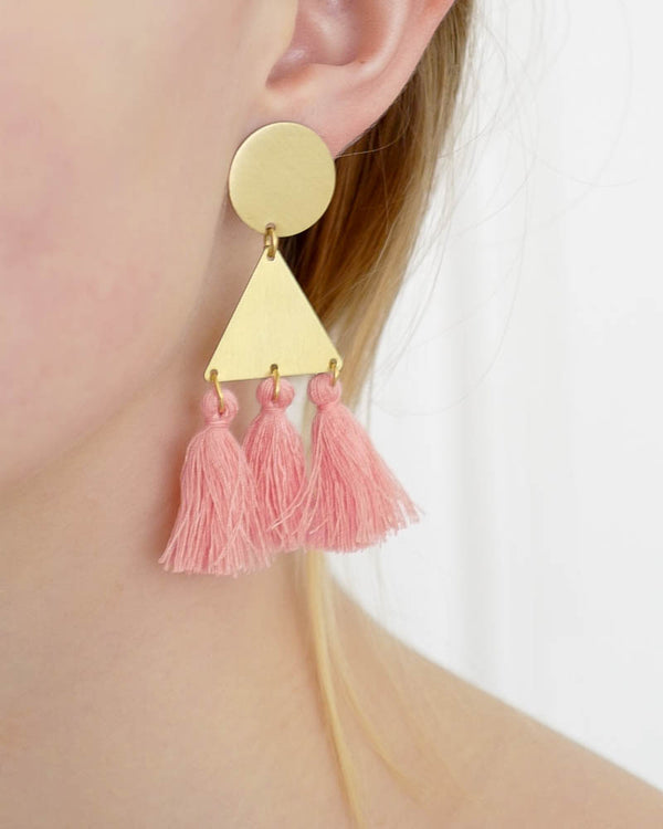 Ohrringe Large Triangle Pink Neon