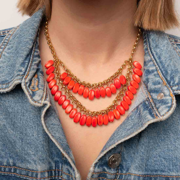 Halskette Collier orange - vergoldet