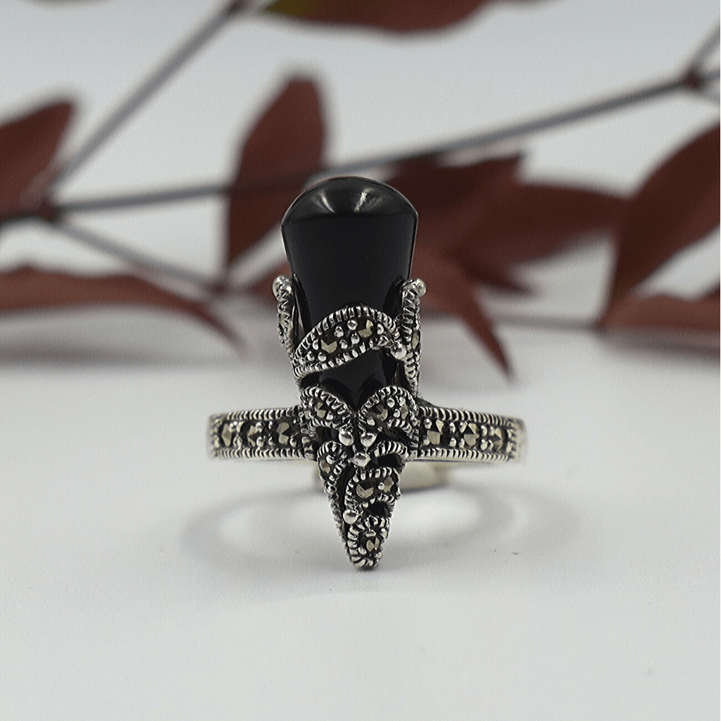 Crown Shaped Onyx & Marcasite Sterling Silver Ring - Lemon and Twig