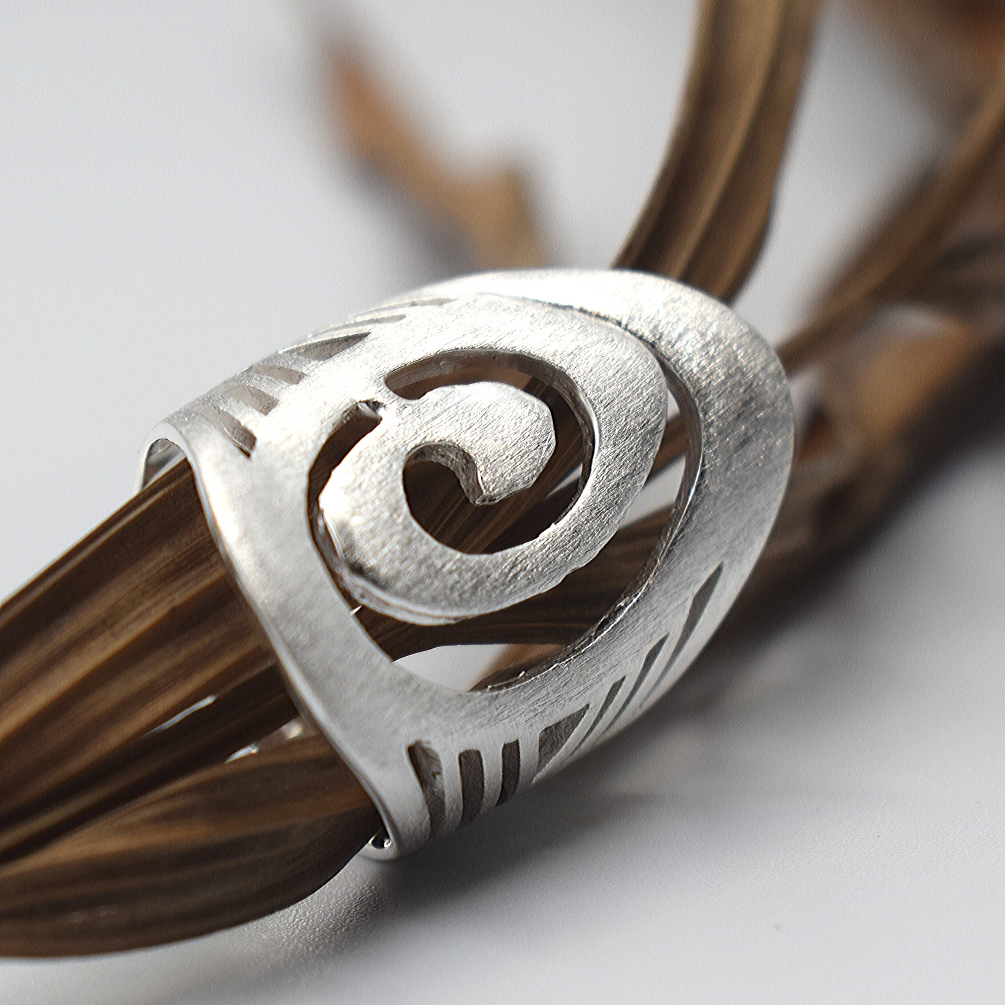 Brushed Boho Spiral Sterling Silver Ring - Lemon and Twig