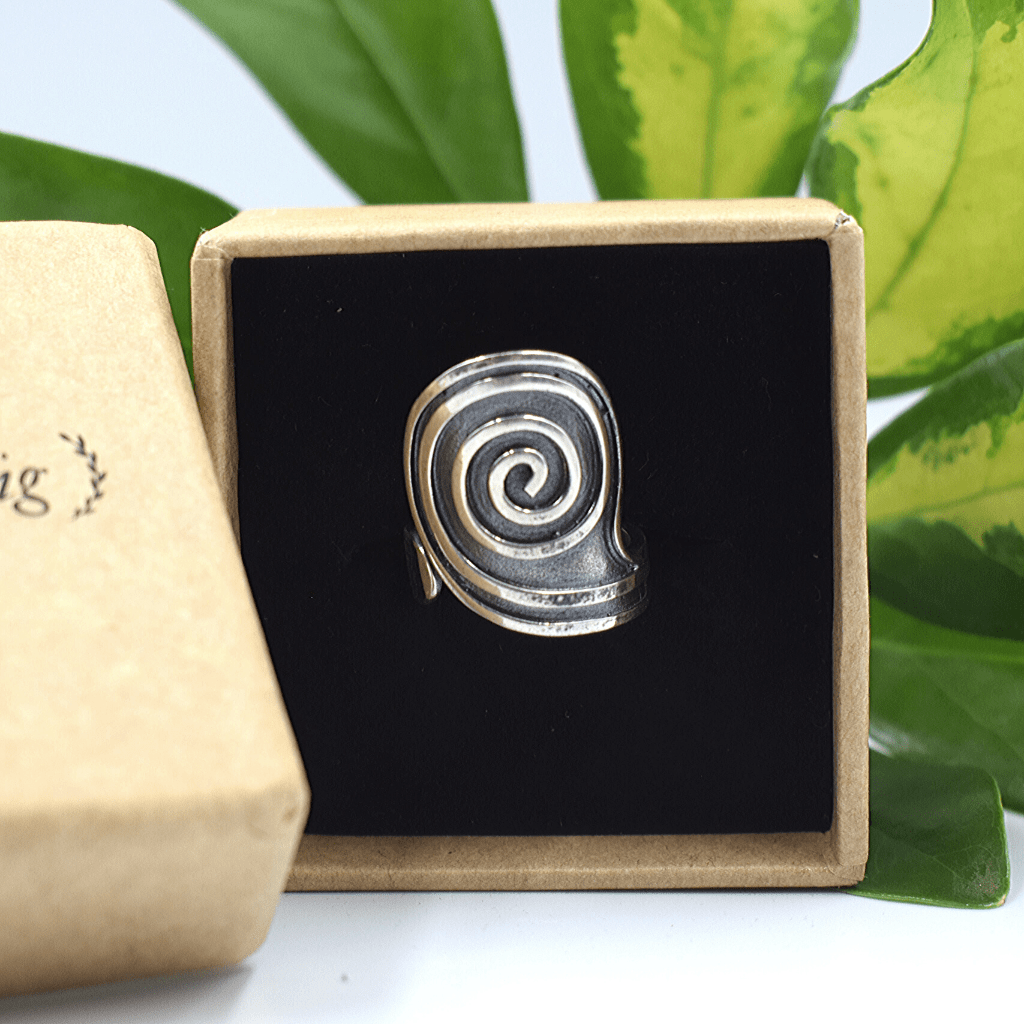 Handmade Boho Spiral Sterling Silver Ring - Lemon and Twig