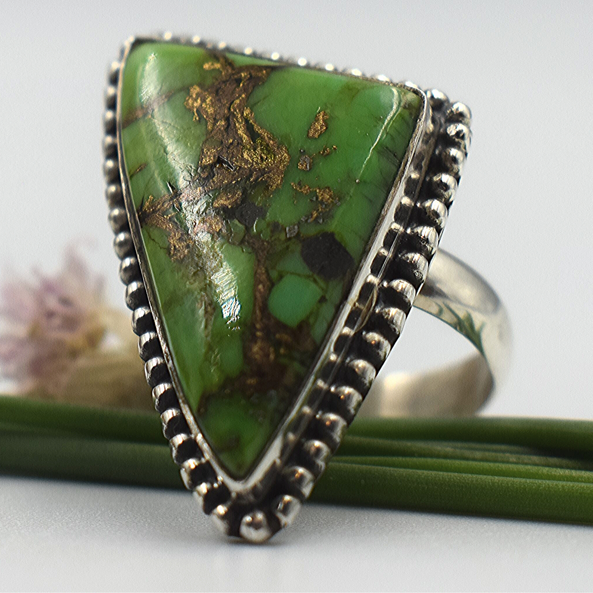 Copper Green Turquoise Sterling Silver Ring - Lemon and Twig