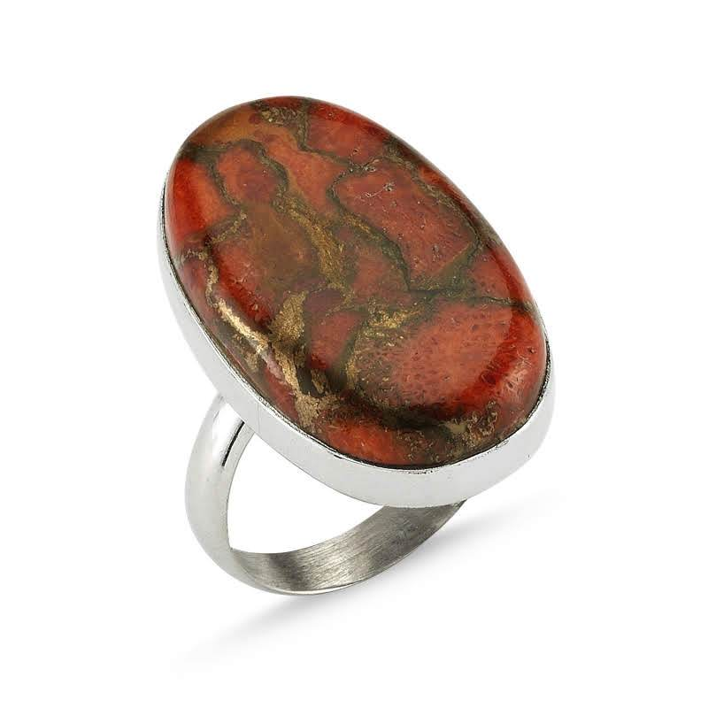 Oval Copper Turquoise Sterling Silver Ring - Lemon and Twig