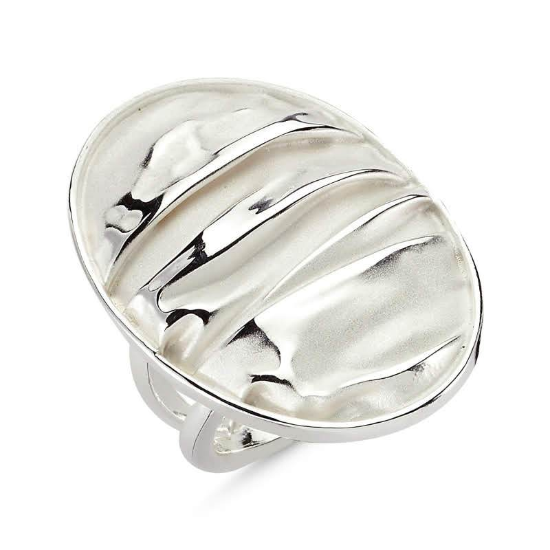 Oval Hammered Sterling Silver Ring - Lemon and Twig