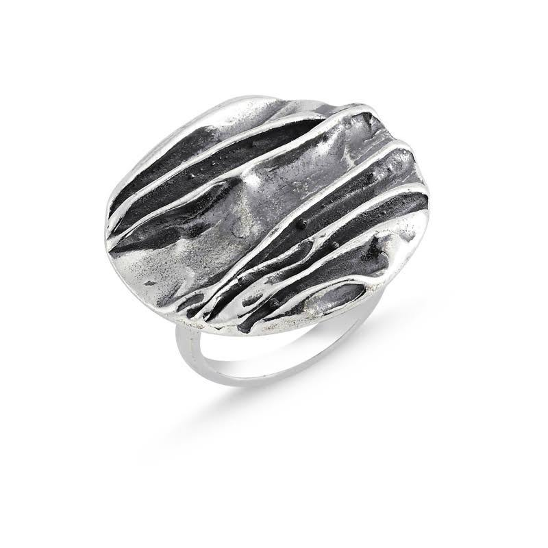 Round Boho Sterling Silver Ring - Lemon and Twig