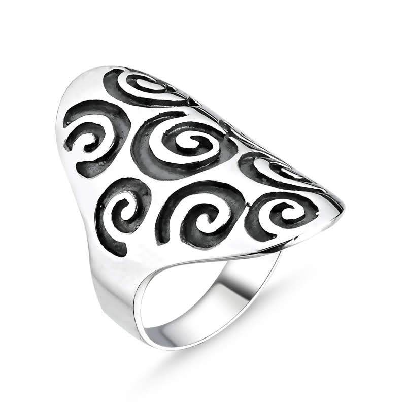 Tribal Spiral Sterling Silver Ring - Lemon and Twig