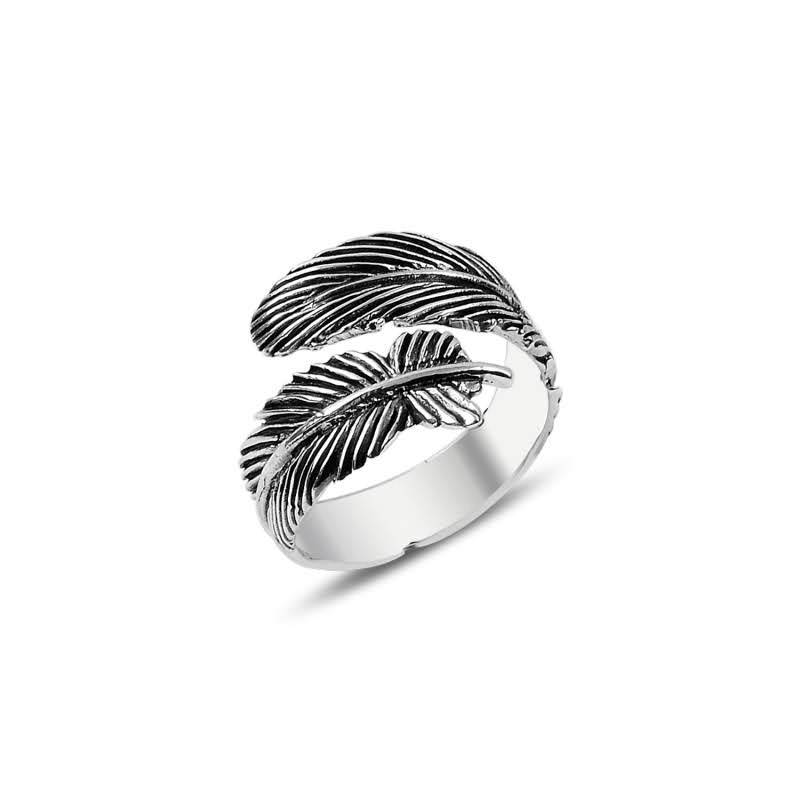 Adjustable Oxidized Feather Sterling Silver Ring - Lemon and Twig