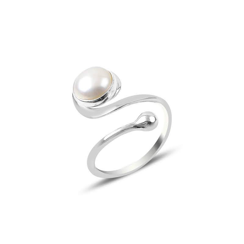 Adjustable Twirl Pearl Gemstone Sterling Silver Ring - Lemon and Twig