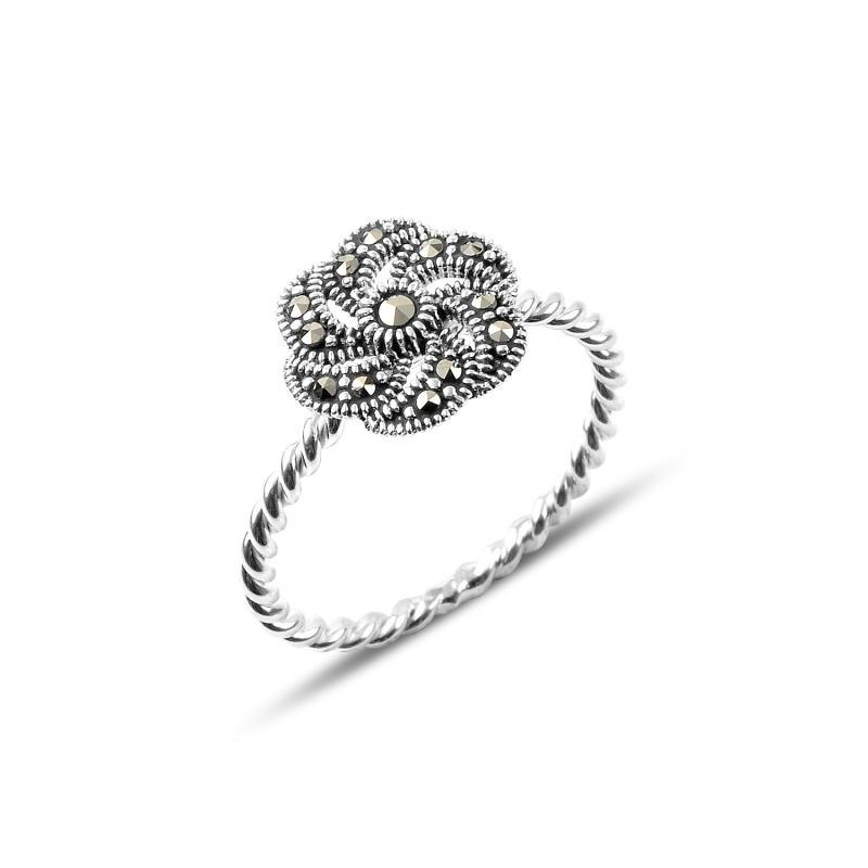 Marcasite Flower Sterling Silver Ring - Lemon and Twig