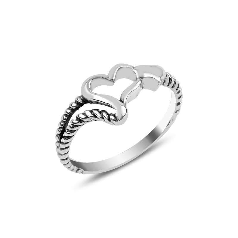 Hearted Stoneless Silver Ring - Lemon and Twig