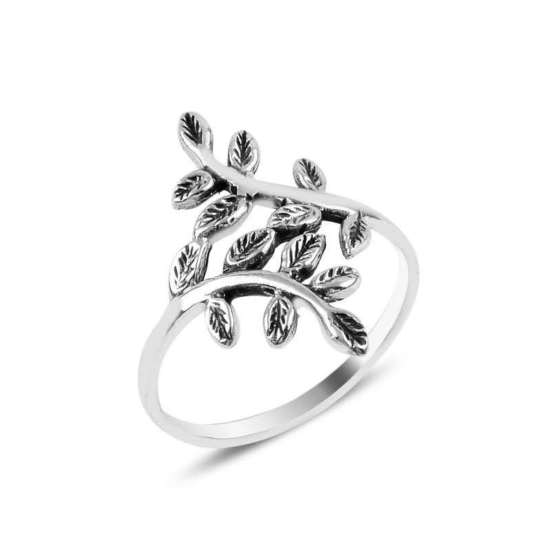 Leaf Shaped Sterling Silver Ring - Lemon and Twig