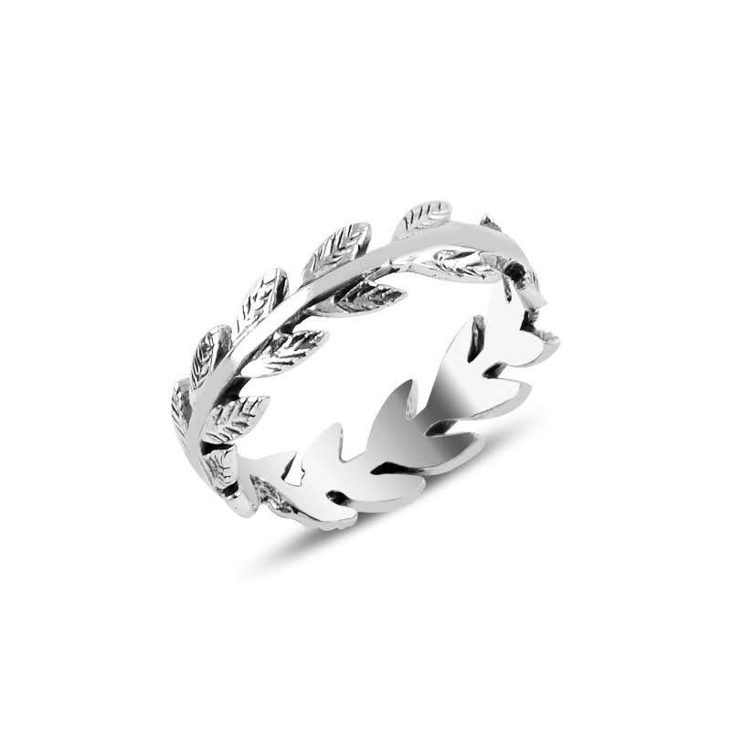 Leaf Shaped Eternity Silver Ring - Lemon and Twig
