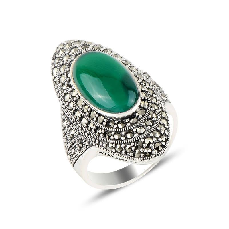 Oval Shield Green Agate & Marcasite Sterling Silver Ring - Lemon and Twig