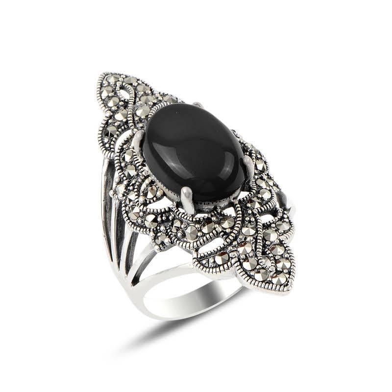Oval Shield Onyx & Marcasite Silver Ring - Lemon and Twig